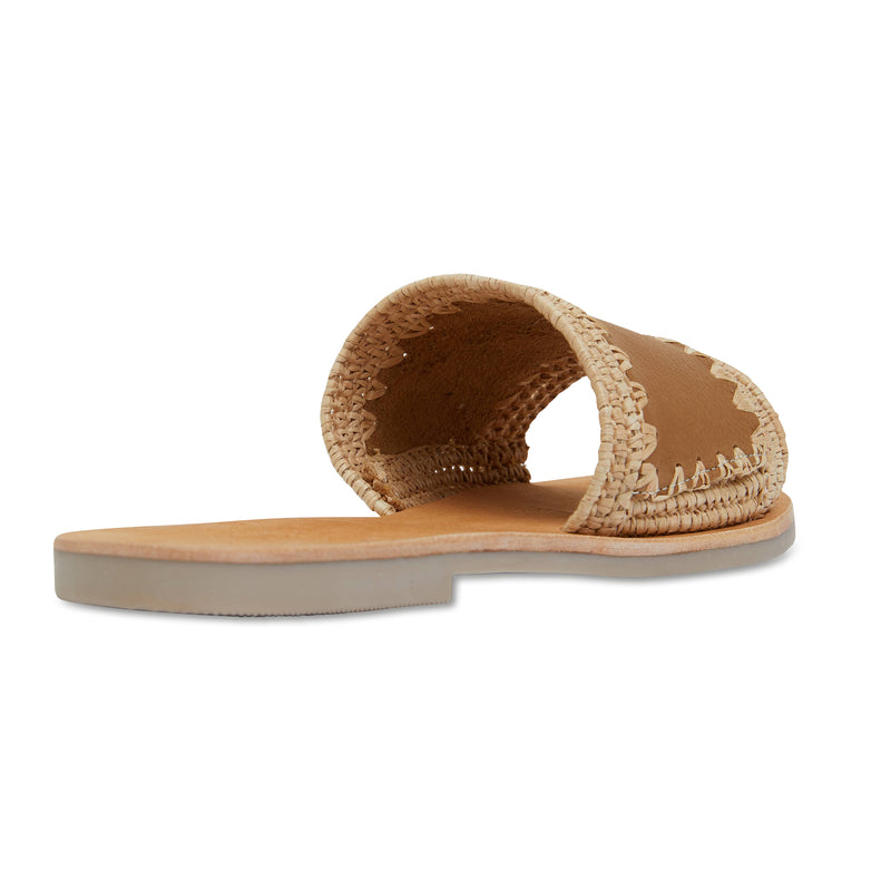 Karli natural woven and tan leather slides for women 2