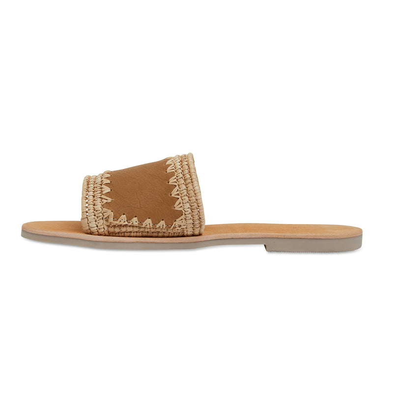 Karli natural woven and tan leather slides for women 3