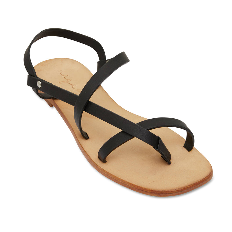 Kayla black strappy leather sandals for women 1