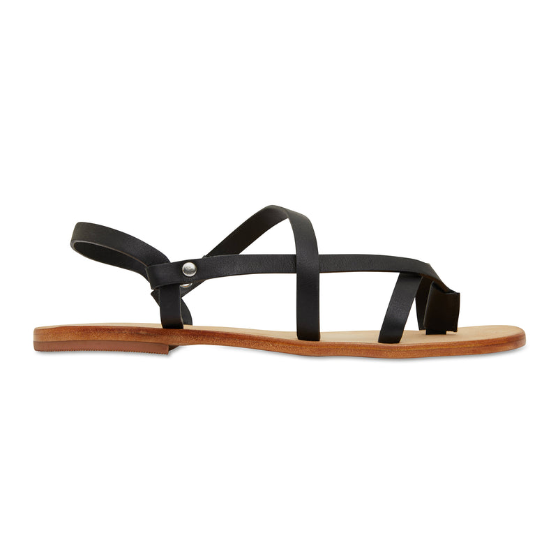 Kayla black strappy leather sandals for women