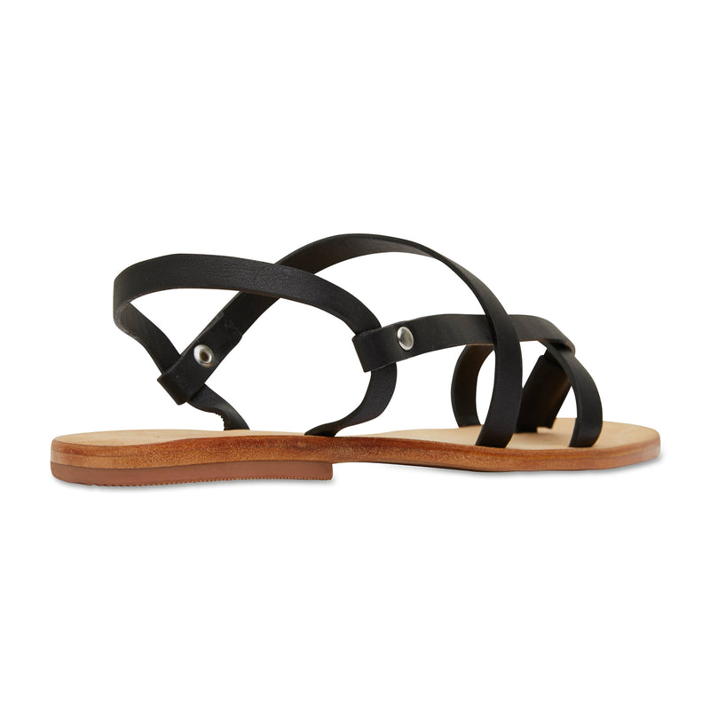 Kayla black strappy leather sandals for women 2