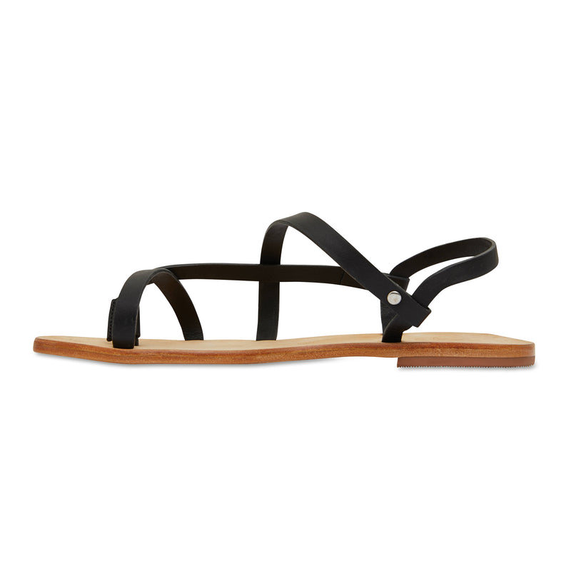 Kayla black strappy leather sandals for women 3
