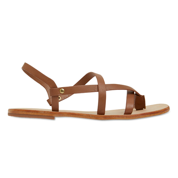 Kayla tan strappy leather sandals for women