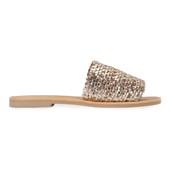 Kendal gold leather woven slides for women