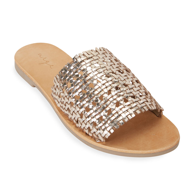 Kendal gold leather woven slides for women 1
