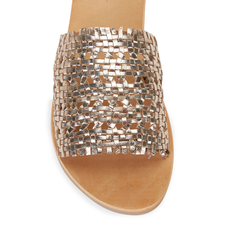 Kendal gold leather woven slides for women 2