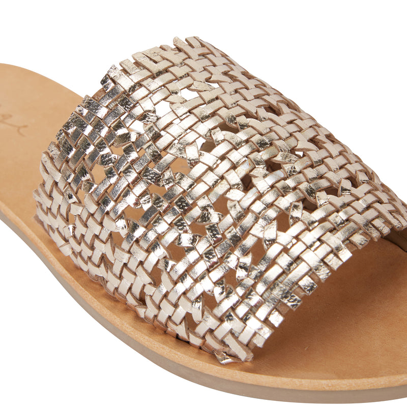 Kendal gold leather woven slides for women 3