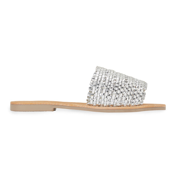 Kendal white silver leather woven slides for women