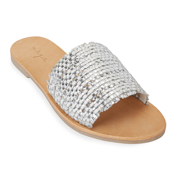 Kendal white silver leather woven slides for women 1
