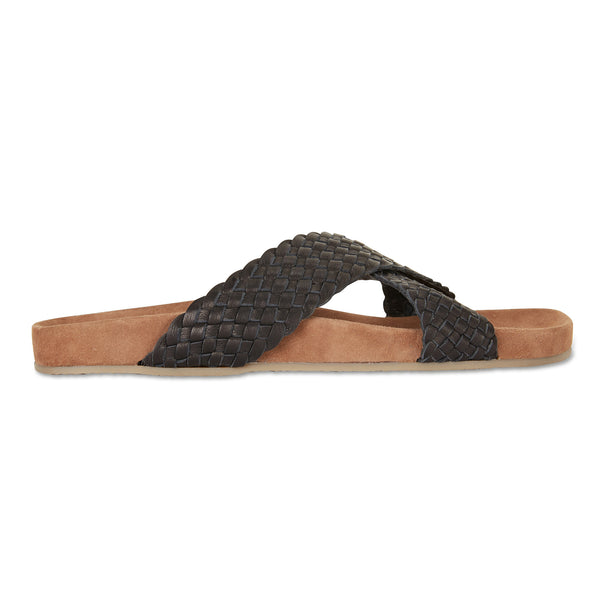 Kiki black woven leather crossover slide with soft footbed