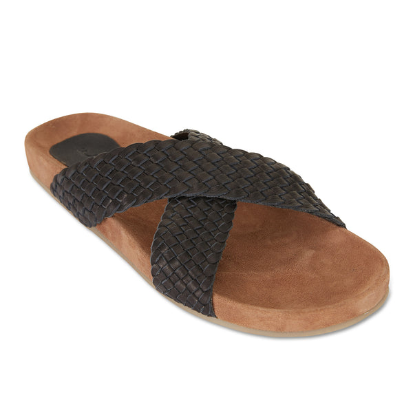Kiki black woven leather crossover slide with soft footbed 1