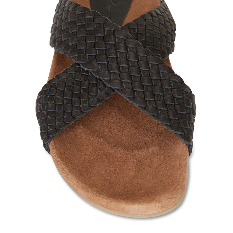 Kiki black woven leather crossover slide with soft footbed 2