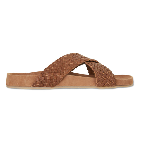 Kiki chocolate woven leather crossover slide with soft footbed