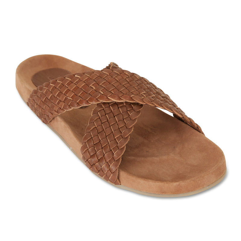 Kiki chocolate woven leather crossover slide with soft footbed 1
