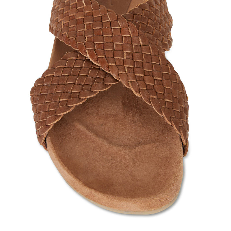 Kiki chocolate woven leather crossover slide with soft footbed 3
