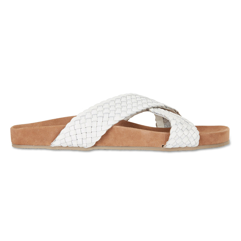 Kiki ice milled woven leather crossover slide with soft footbed