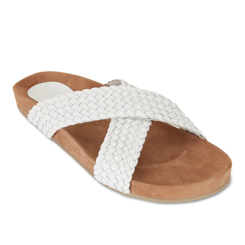 Kiki ice milled woven leather crossover slide with soft footbed 1