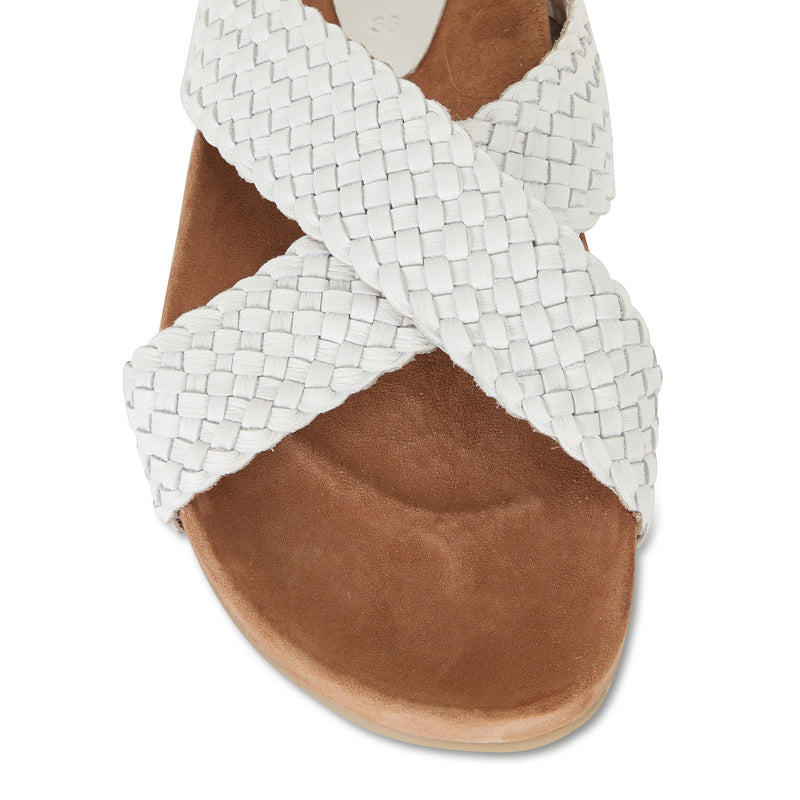 Kiki ice milled woven leather crossover slide with soft footbed 2