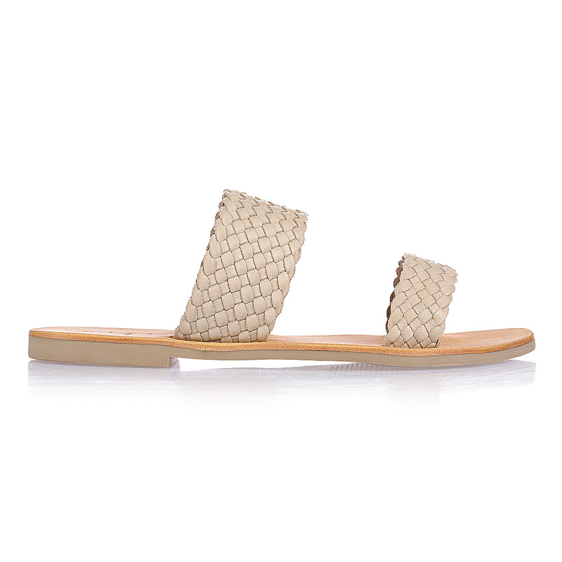 Kora weave nude woven leather double banded slides 2