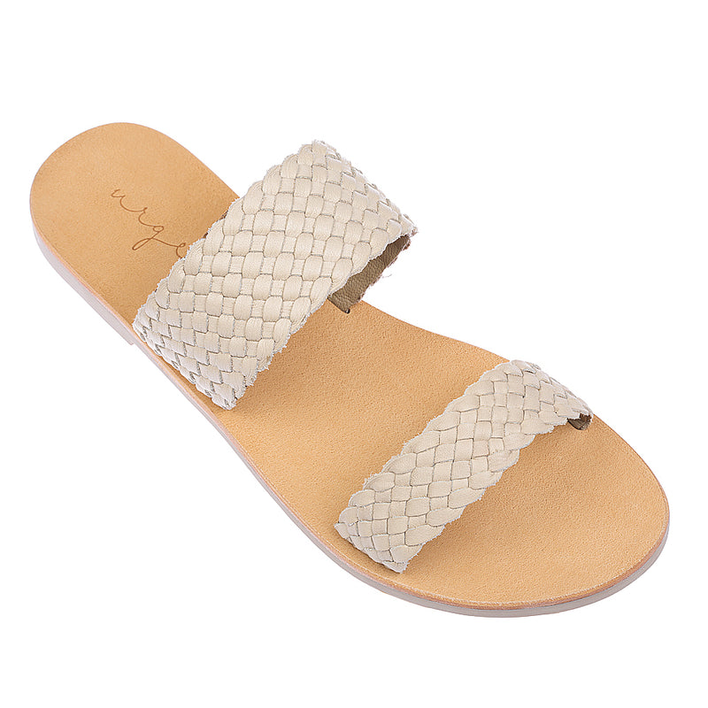 Kora weave nude woven leather double banded slides
