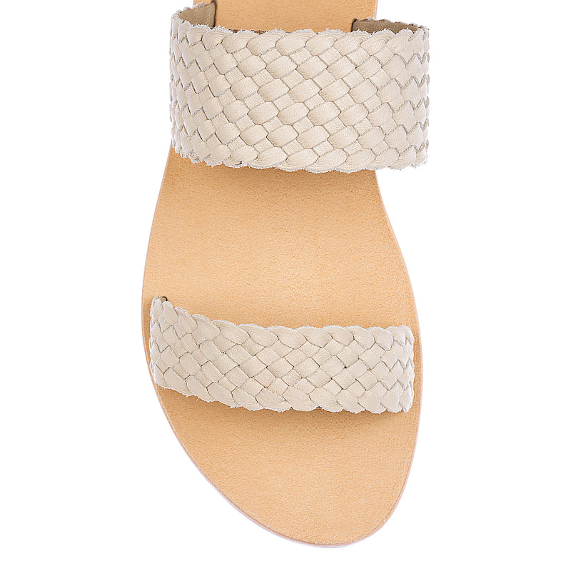 Kora weave nude woven leather double banded slides 1