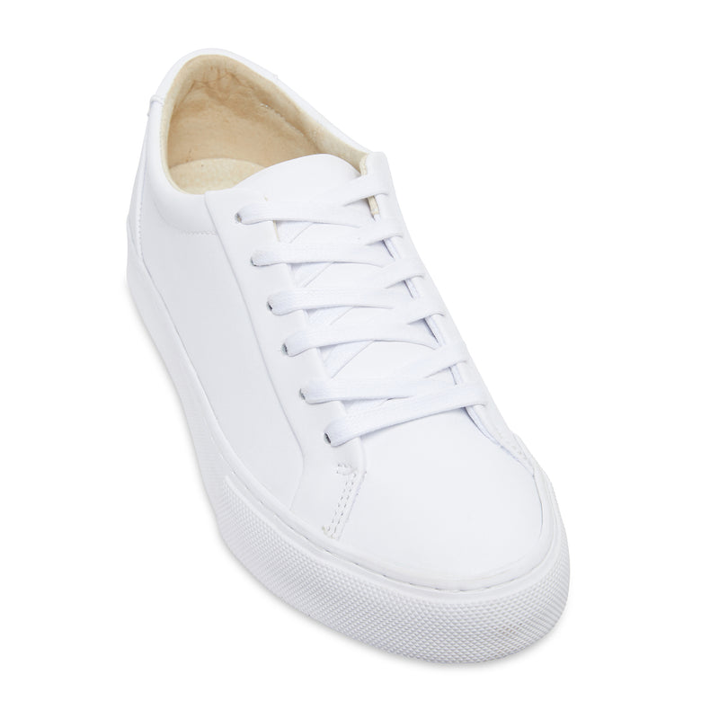 Letty smooth white leather men's sneakers with white sole 1