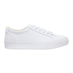 Letty smooth white leather men's sneakers with white sole