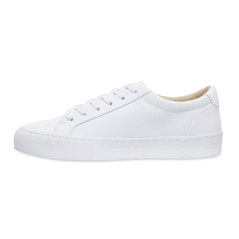 Letty smooth white leather men's sneakers with white sole 2
