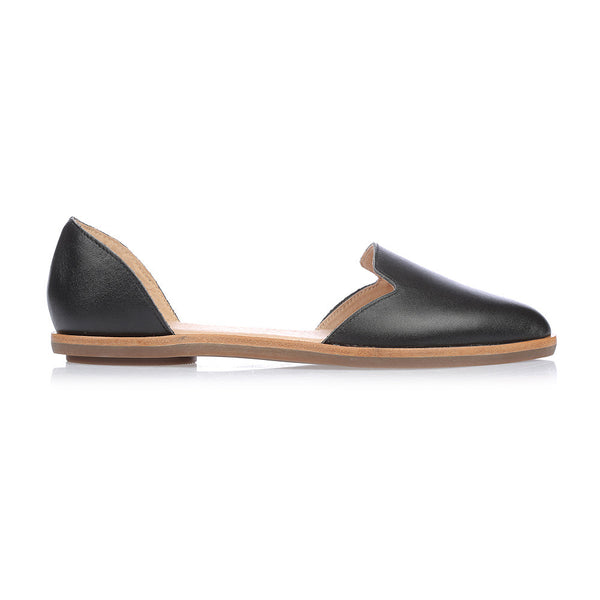 LOLA - BLACK LEATHER FLAT