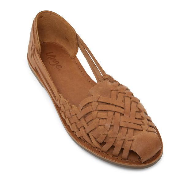 lotus tan woven leather flat shoes for women 1