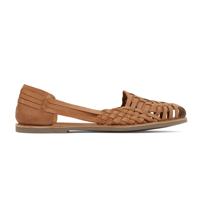 lotus tan woven leather flat shoes for women