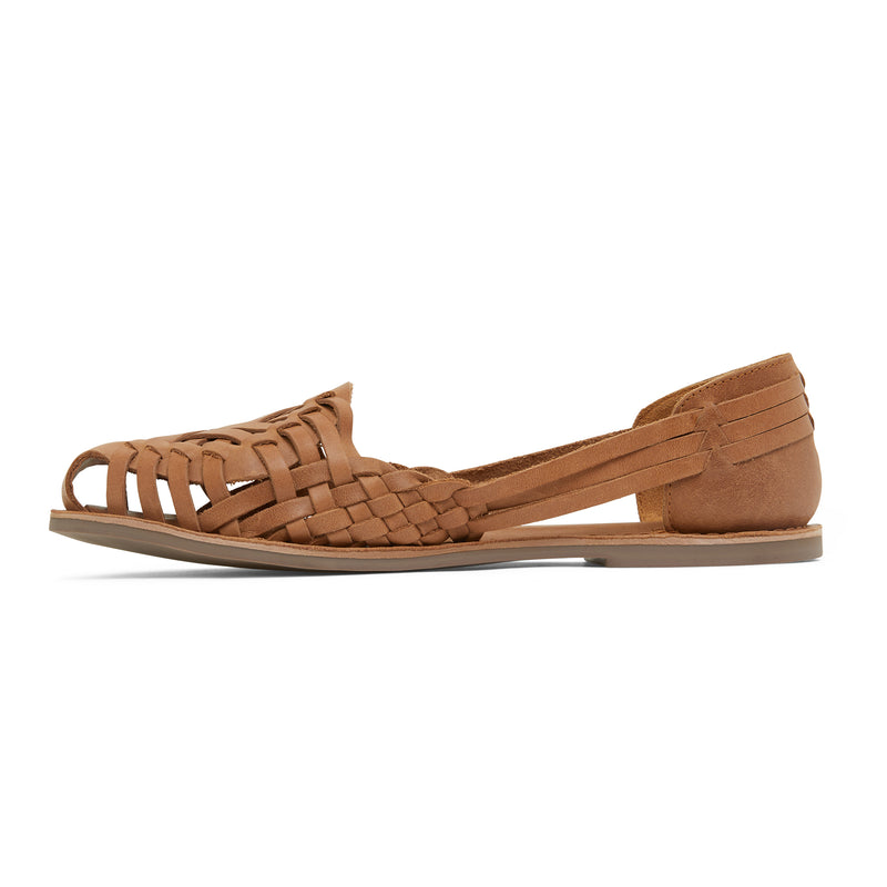 lotus tan woven leather flat shoes for women 2