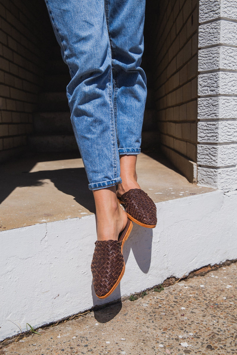 Luella chocolate woven leather mules for women lifestyle