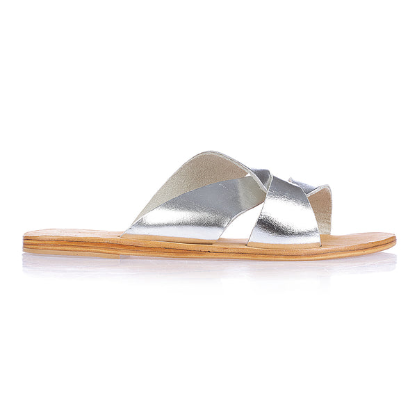 Lenni silver slide with rubber sole for women