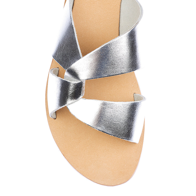 Lenni silver slide with rubber sole for women 2