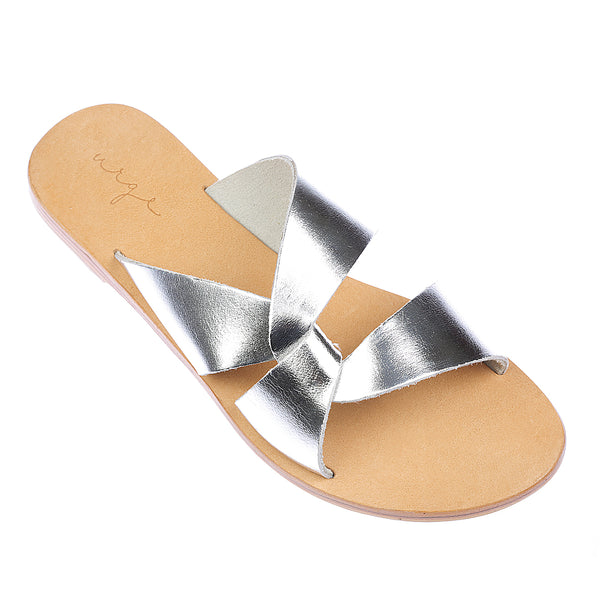 Lenni silver slide with rubber sole for women 1
