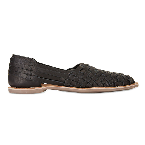 Lilah Black woven leather flat closed shoes for women