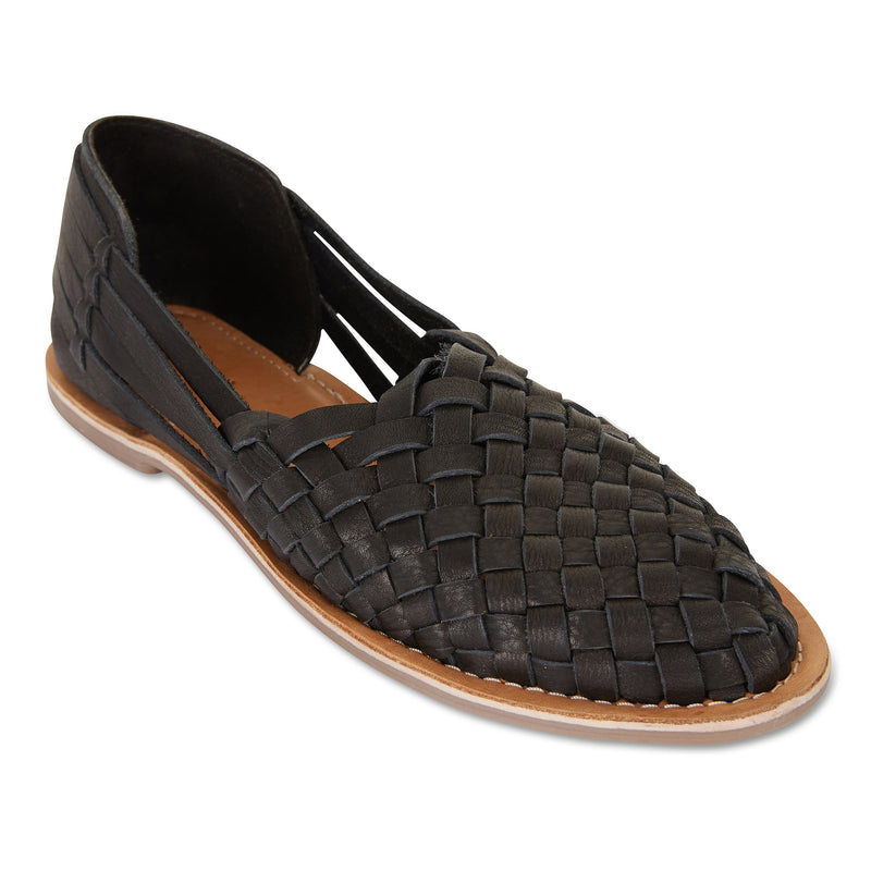 Lilah Black woven leather flat closed shoes for women 1