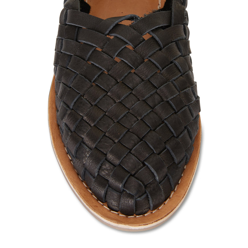 Lilah Black woven leather flat closed shoes for women 2