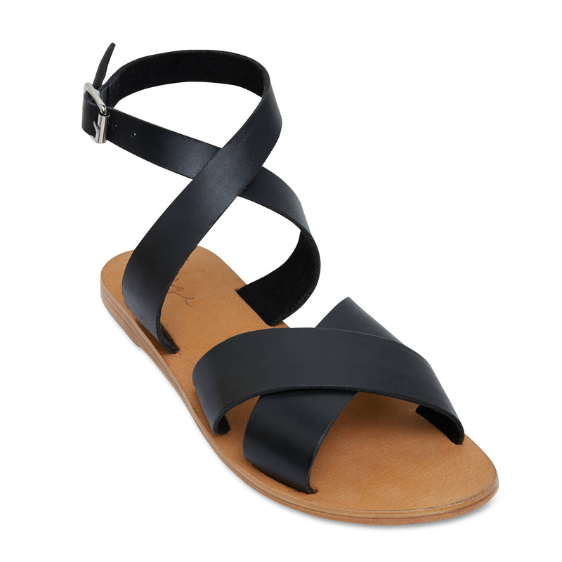 Lizzie black leather ankle strap sandals for women 1