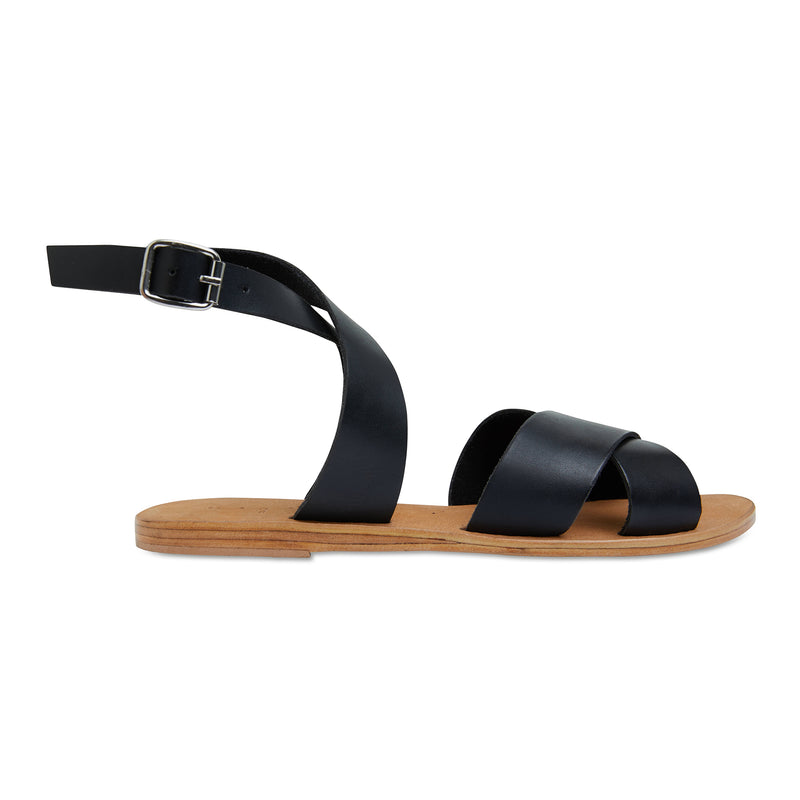 Lizzie black leather ankle strap sandals for women