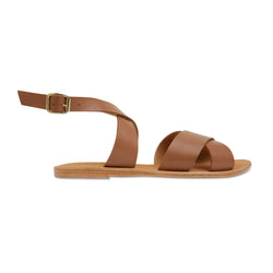 Lizzie tan leather ankle strap sandals for women