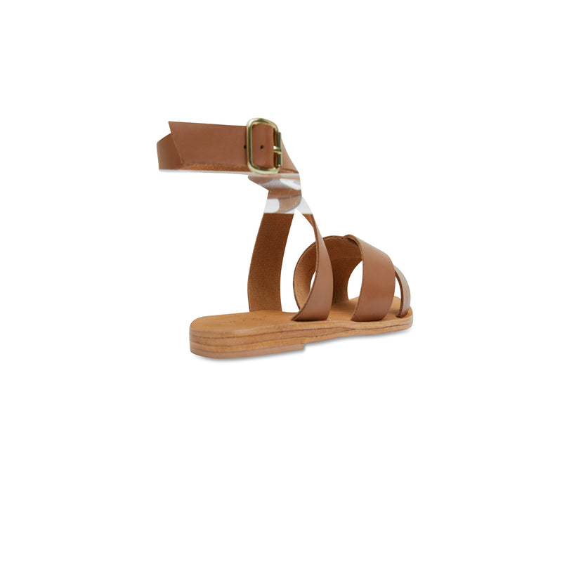 Lizzie tan leather ankle strap sandals for women 3