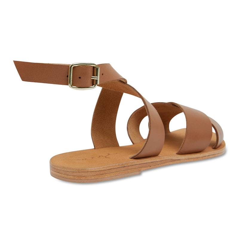 Lizzie tan leather ankle strap sandals for women 4