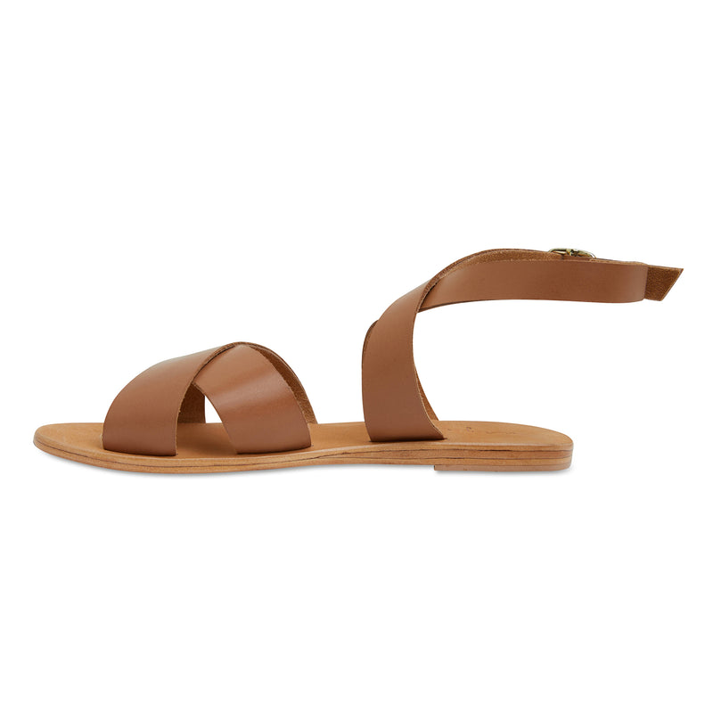 Lizzie tan leather ankle strap sandals for women 2