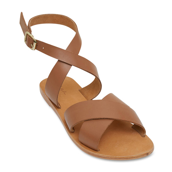 Lizzie tan leather ankle strap sandals for women 1