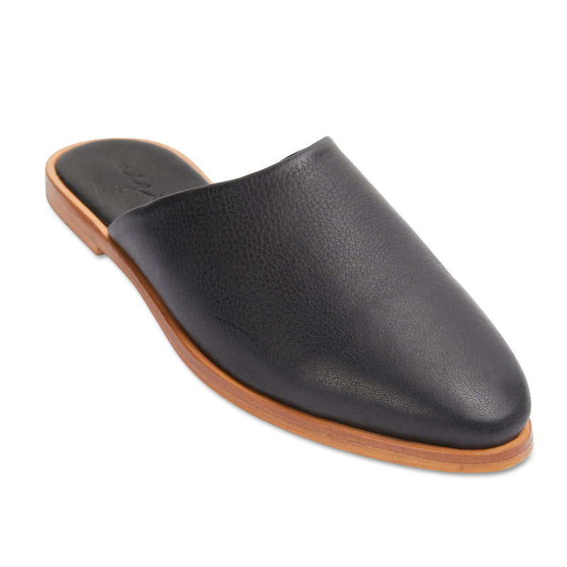 Loui black milled leather mules with almond toe shape 1