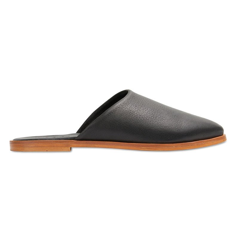 Loui black milled leather mules with almond toe shape