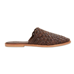 Luella chocolate woven leather mules for women