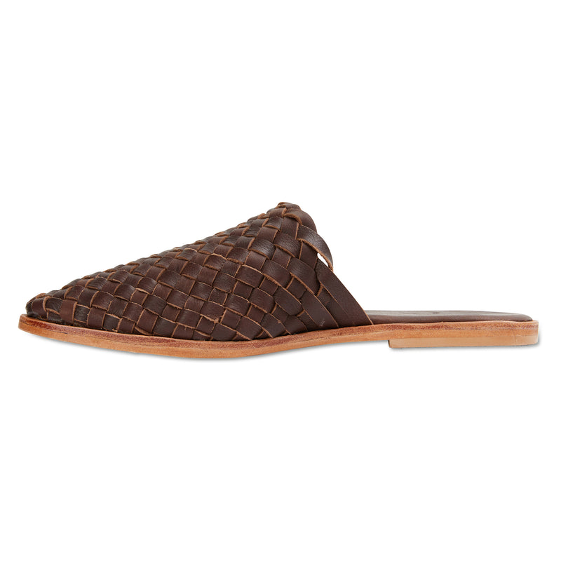 Luella chocolate woven leather mules for women 2